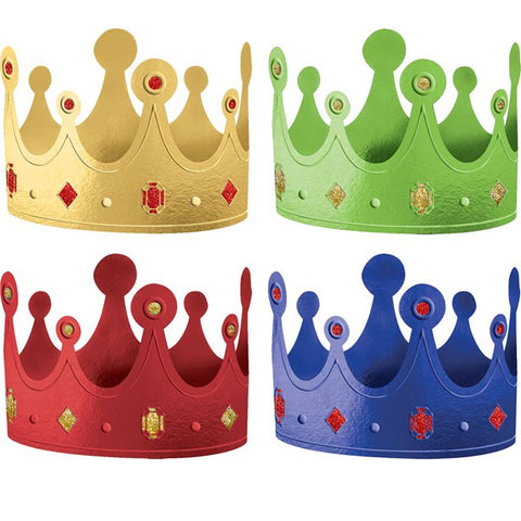 Primary Colour Crown Party Hats 12ct