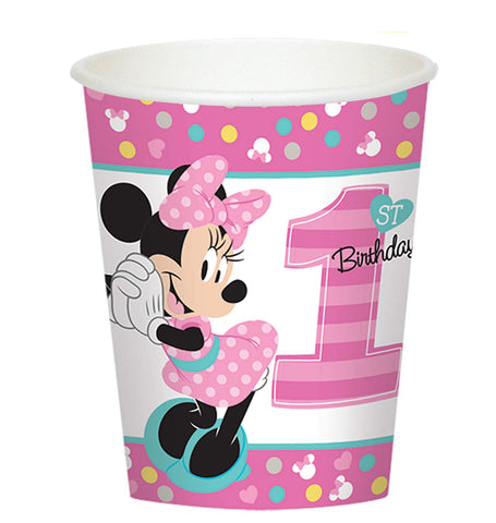 Disney Minnie Mouse 1st Birthday 9oz Paper Cups 8ct