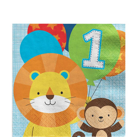 One Is Fun Boy Paper Party Serviettes 16ct