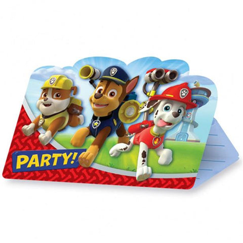 Paw Patrol Party Invitation Cards 8ct
