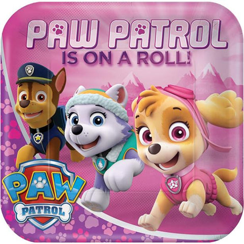 Pink Paw Patrol Paper Party Plates 8ct