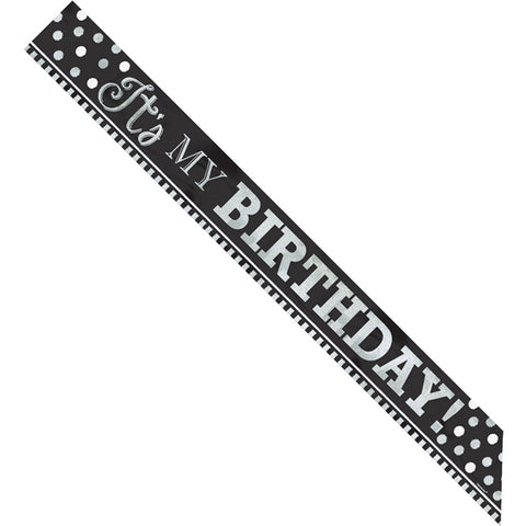 Black & White Birthday Foil Sash