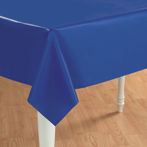 Blue Plastic Tablecover - 54 inch x 108 inch