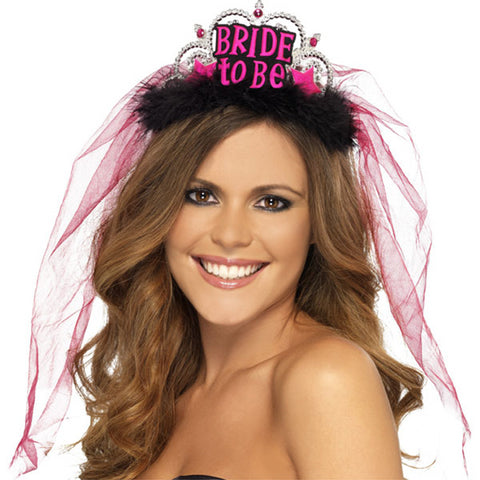 'Bride to Be' Black Tiara with Veil