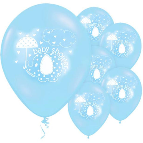 "Umbrellaphants Blue Baby Shower Balloons - 12"" Latex 8ct"