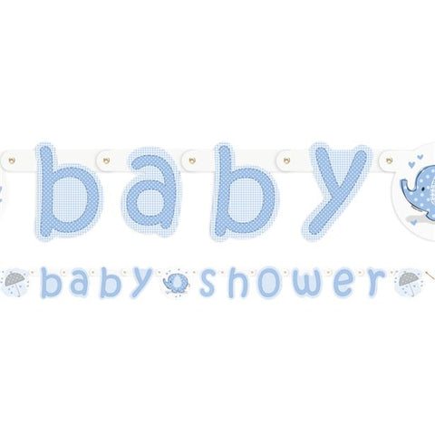 Umbrellaphants Blue Baby Shower Party Letter Banner