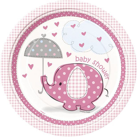 Umbrellaphants Pink Party Paper Plates 8ct