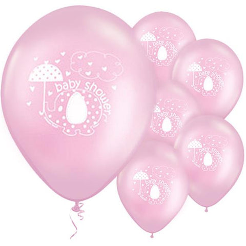 "Umbrellaphants Pink Baby Shower Balloons - 12"" Latex 8ct"