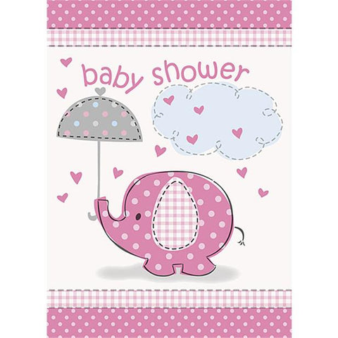 Umbrellaphants Pink Party Invitation Cards 8ct