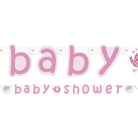 Umbrellaphants Pink Baby Shower Party Letter Banner