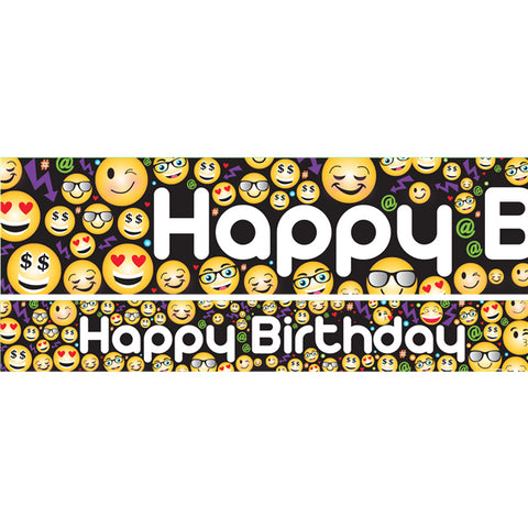 Emoji Birthday Paper Banner 3ct