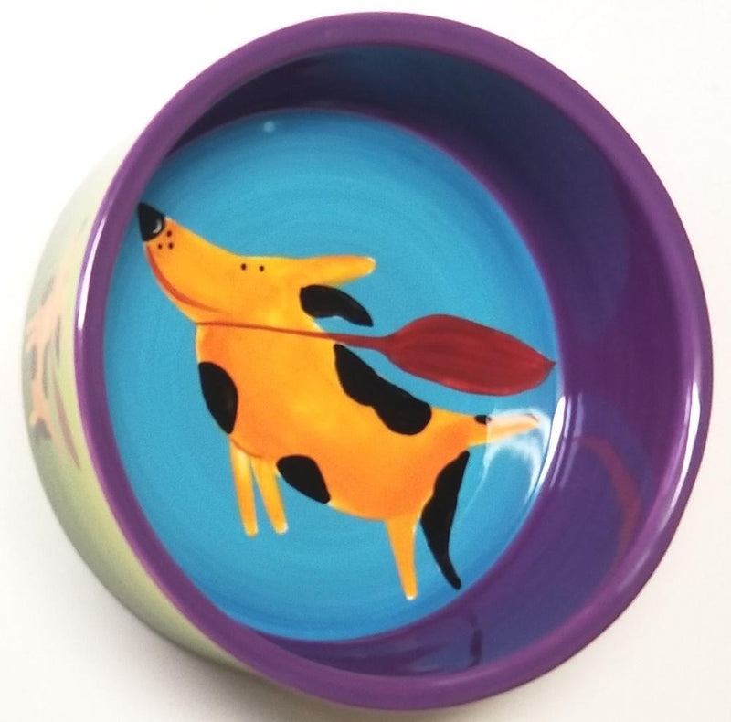 Mary Naylor Henriksen Imports Designed Flying Dog 6-Inch Pet Bowl, Retired