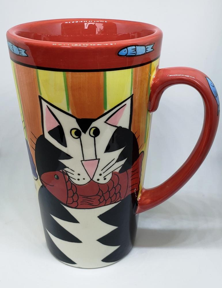 Candace Reiter Catzilla Cats with Fish Latte Mug, Retired