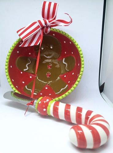Mud Pie Gingerbread Man Bowl and Candy Cane Spreader