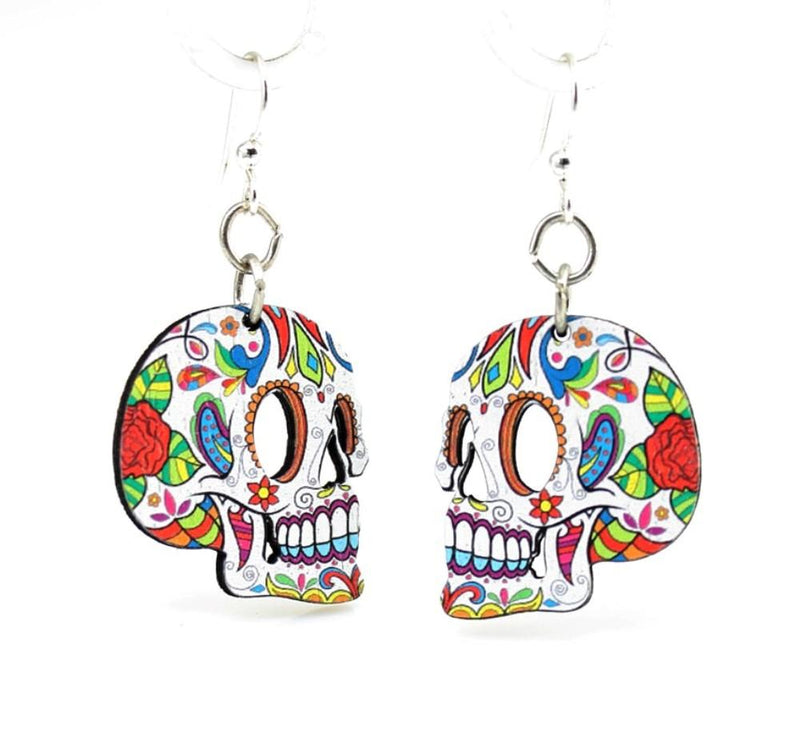 Profile Sugar Skulls Earrings by Green Tree Jewelry, Made in the USA