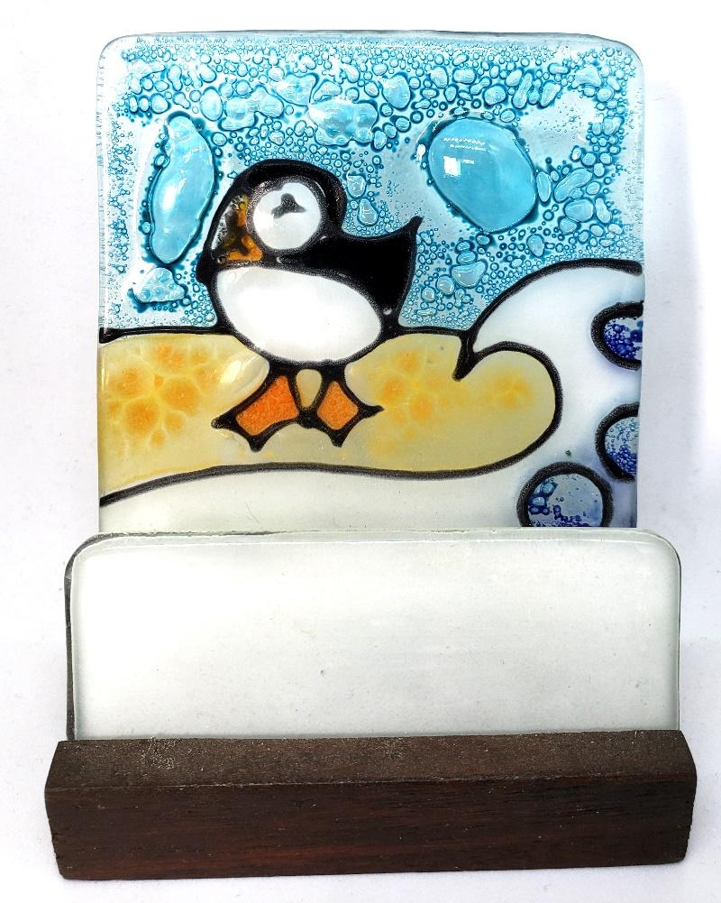 Handcrafted Fused Glass Business Card Holder From Pampeana, Choice of Style