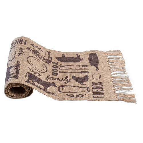 TAG Farm to Table Burlap Fringed Runner