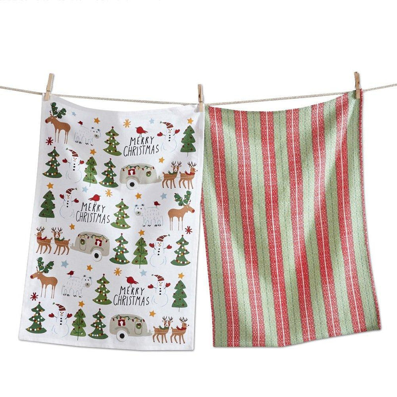 TAG Let It Snow Collection Holly Jolly Mix Dishtowel, Set of 2