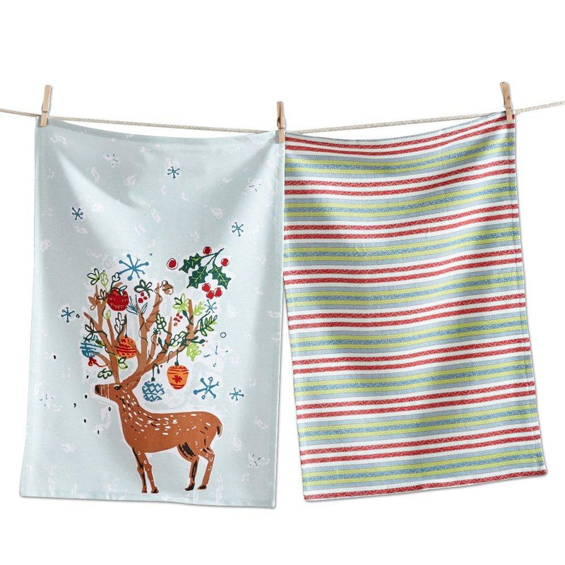 TAG Hip Holiday Collection Reindeer Dishtowel, Set of 2