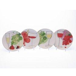 Certified International Vino Canape, Appetizer, Dessert or Snack Plates, Set of 4