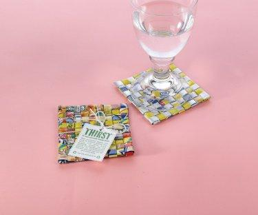 Coasters from Recycled Juice Boxes - Set of 6