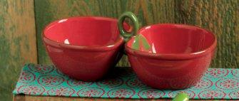 TAG Cherries Double Dip Bowls in Red
