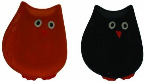 Tag Night Owl Shaped Appetizer Plates, Orange and Black, Set of 4