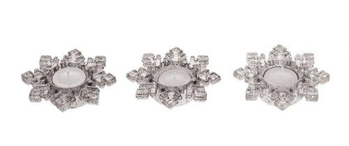 "Creative Co-Op Mercury Glass Snowflake Tealight Holders (Set of 3), 3.25"", Silver"