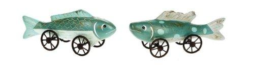 Creative Co-op Fish on Wheels Figurines, Set of 2