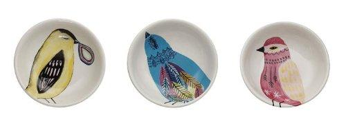 Creative Co-op Stoneware Bird Dishes, Set of 3