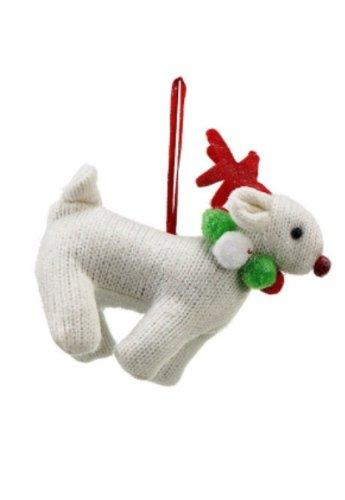 Creative Co-op Knit Reindeer Ornament, Choice of Red or White