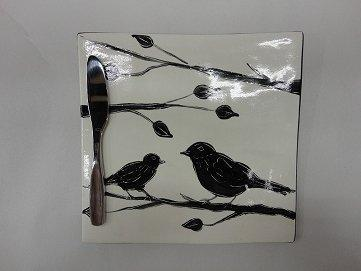 Clayton Dickson Handmade Blackbird Cheese Tile with Knife, Made in Nova Scotia