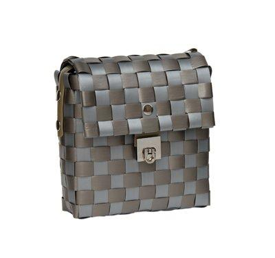 Zig Zag Bag By Grass Roots Creations, Shoulder Purse, Pewter