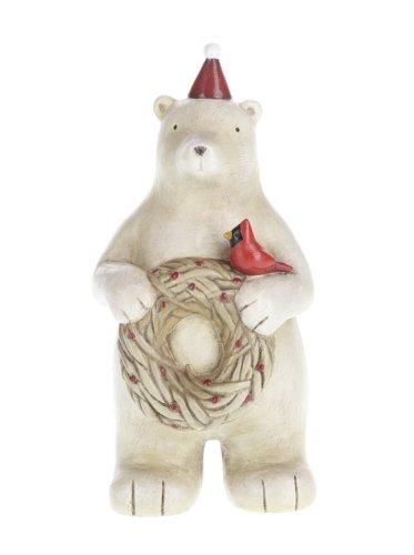 Creative Co-op Polar Bear with Wreath Figurine
