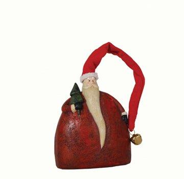 Fantastic Craft Fat Jingle Bell Santa Figurine, 4 by 5-Inch, Red