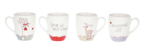Creative Co-op Whimsical, Dolomite Holiday Mugs, Set of 4