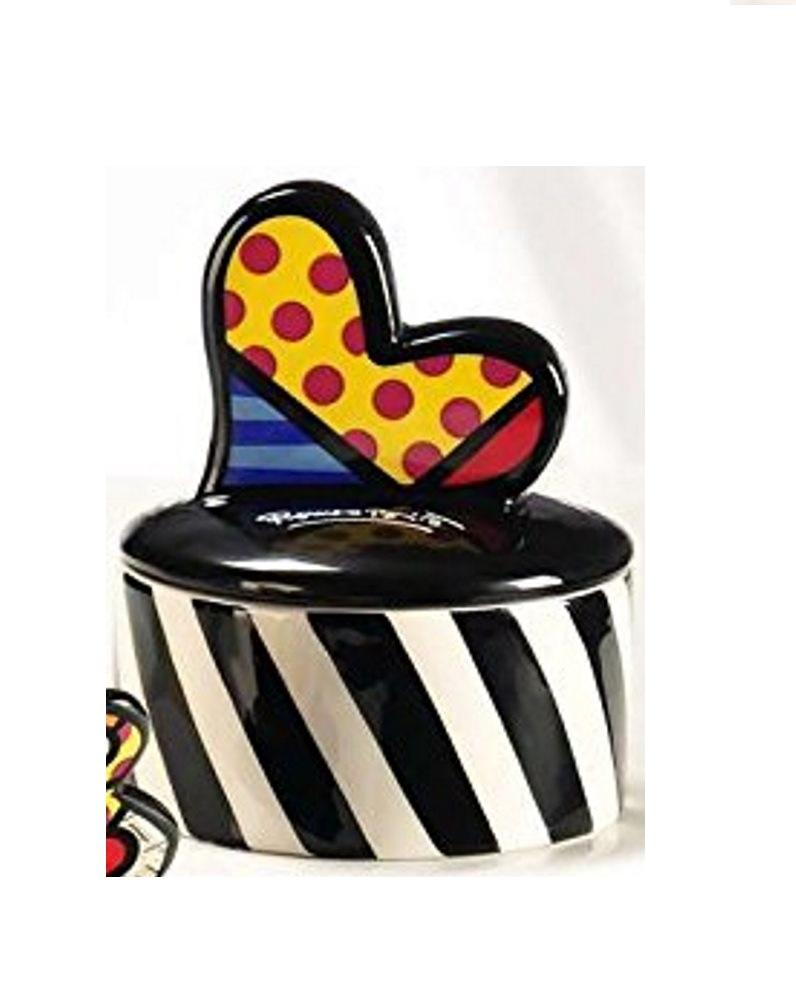 Romero Britto Round Trinket Box by Giftcraft, Choice of Style
