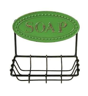 Creative Co-op Metal Wall Soap Dish, Choice of Color (Green)