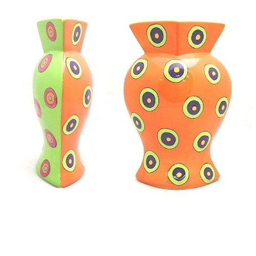 Dancing Dots Two-Sided Vase - Orange & Green