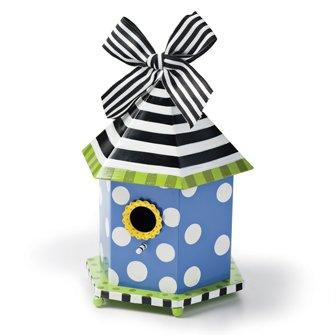 Demdaco Dots and Daisies Bird House - Choice of Blue or Green