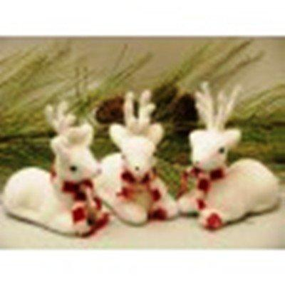 White Sitting Deer Figurines, Set of 3, by AA Floral