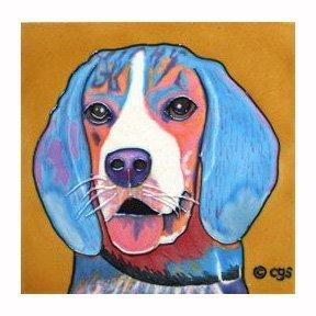 Claudia Sanchez Decorative Ceramic Wall Art Tile, Beagle