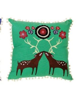 Creative Co-op Square Cotton Pillow with Crewel Embroidery, Choice of Styles