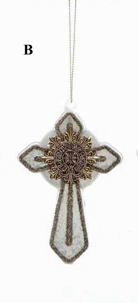 Creative Co-Op Twelve Days of Christmas Collection Glass Cross Ornament, Ivory With Silver Detail, Choice of Style