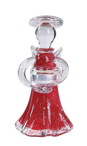 "Creative Co-op 8"" Glass Angel Tealight Holder, Red"