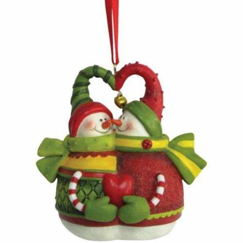 Holiday Christmas Ornament with Smiling Snowman Couple Holding Heart