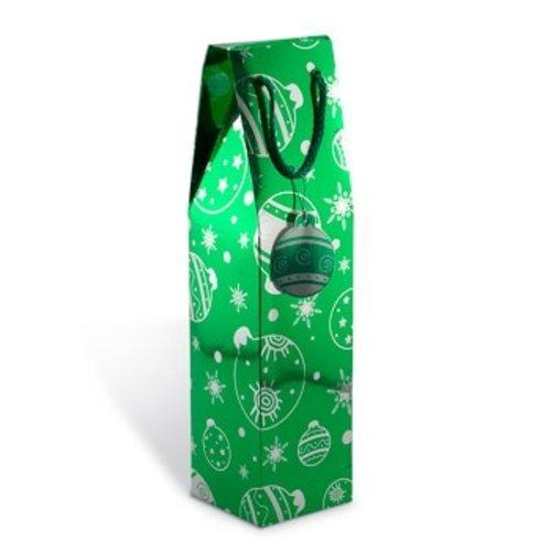 Holiday Trimmings Single Bottle Gift Box Green White Design Bauble Tag