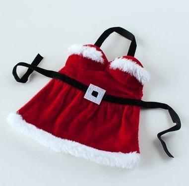 Mrs. Santa Claus Dress / Apron Wine Bottle Cover, Fabric, Gift Boxed
