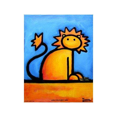 Lion Picture Day Print with White Mat Size: Small
