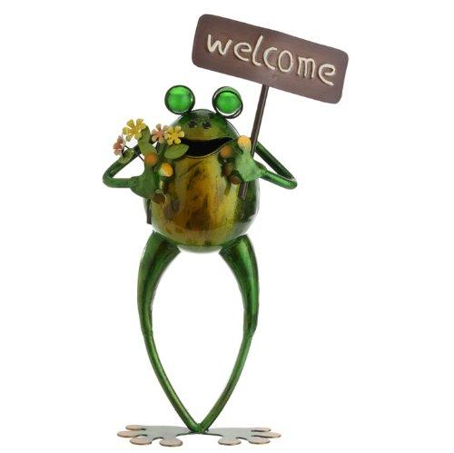 RAZ Imports Frog with Welcome Sign Figurine